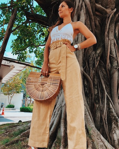 high waist pants crop top street style fashion in Bangkok
