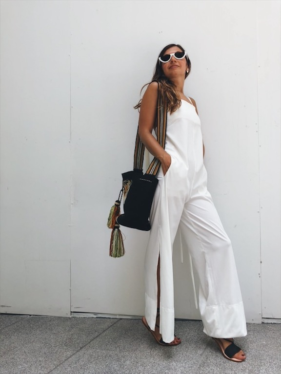 white jumpsuit street style fashion in Bangkok