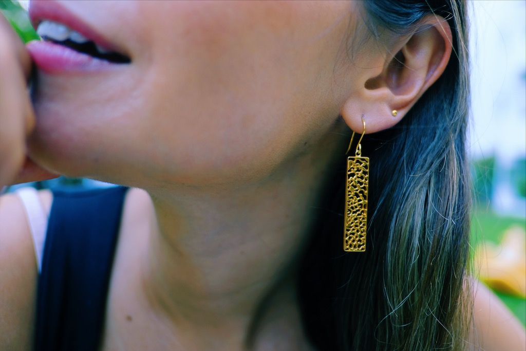 rectangular earring handmade jewelry Bangkok