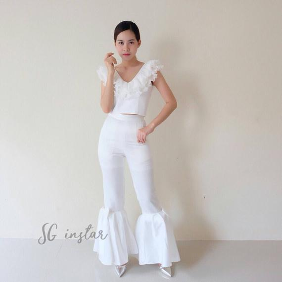 bow pants white