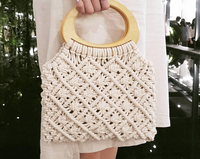 white macrame bag wooden handle