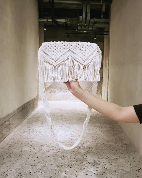 white macrame cross body bag
