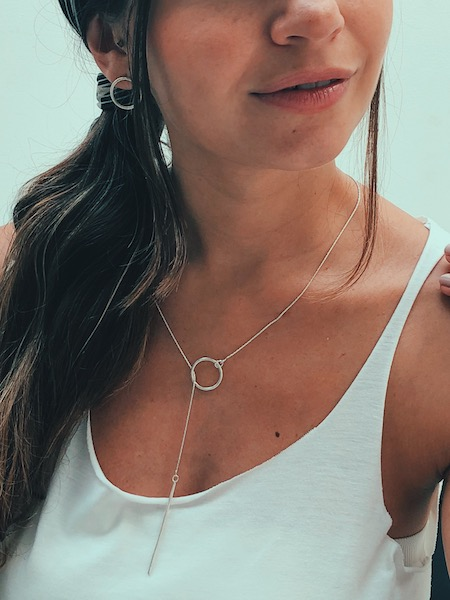 minimalist silver necklace earrings