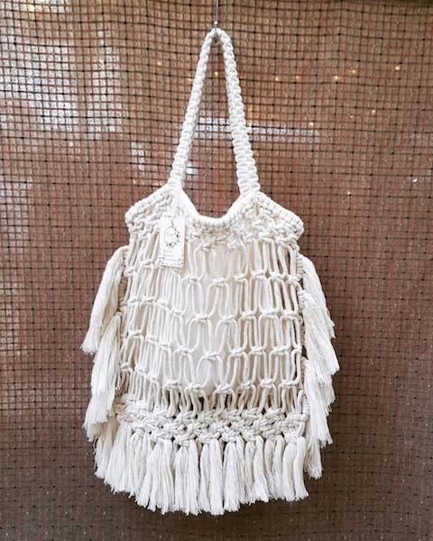 white macrame bag tassels