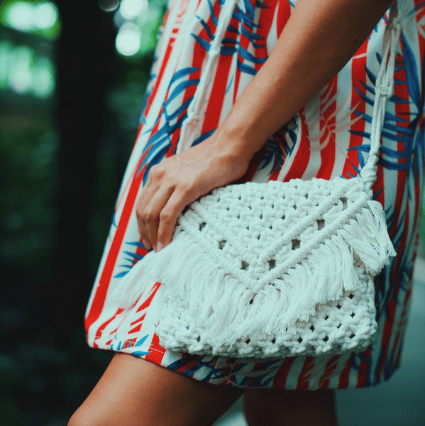 white macrame bag Thailand