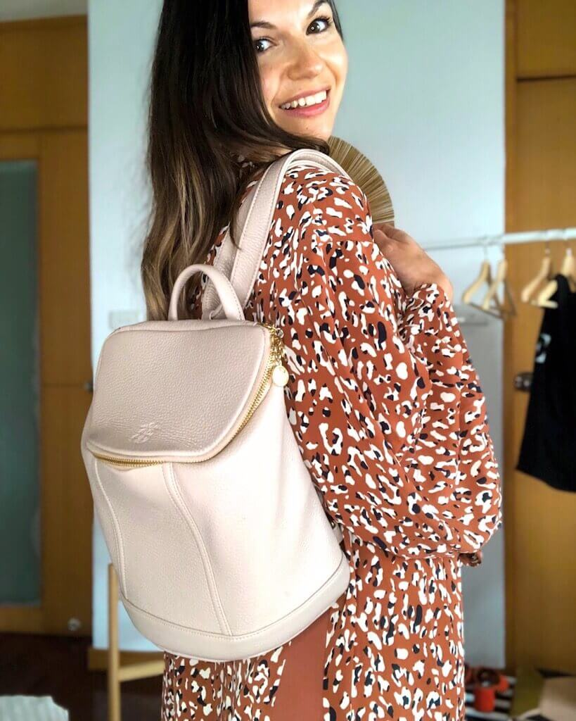borboleta backpack cruelty free leather